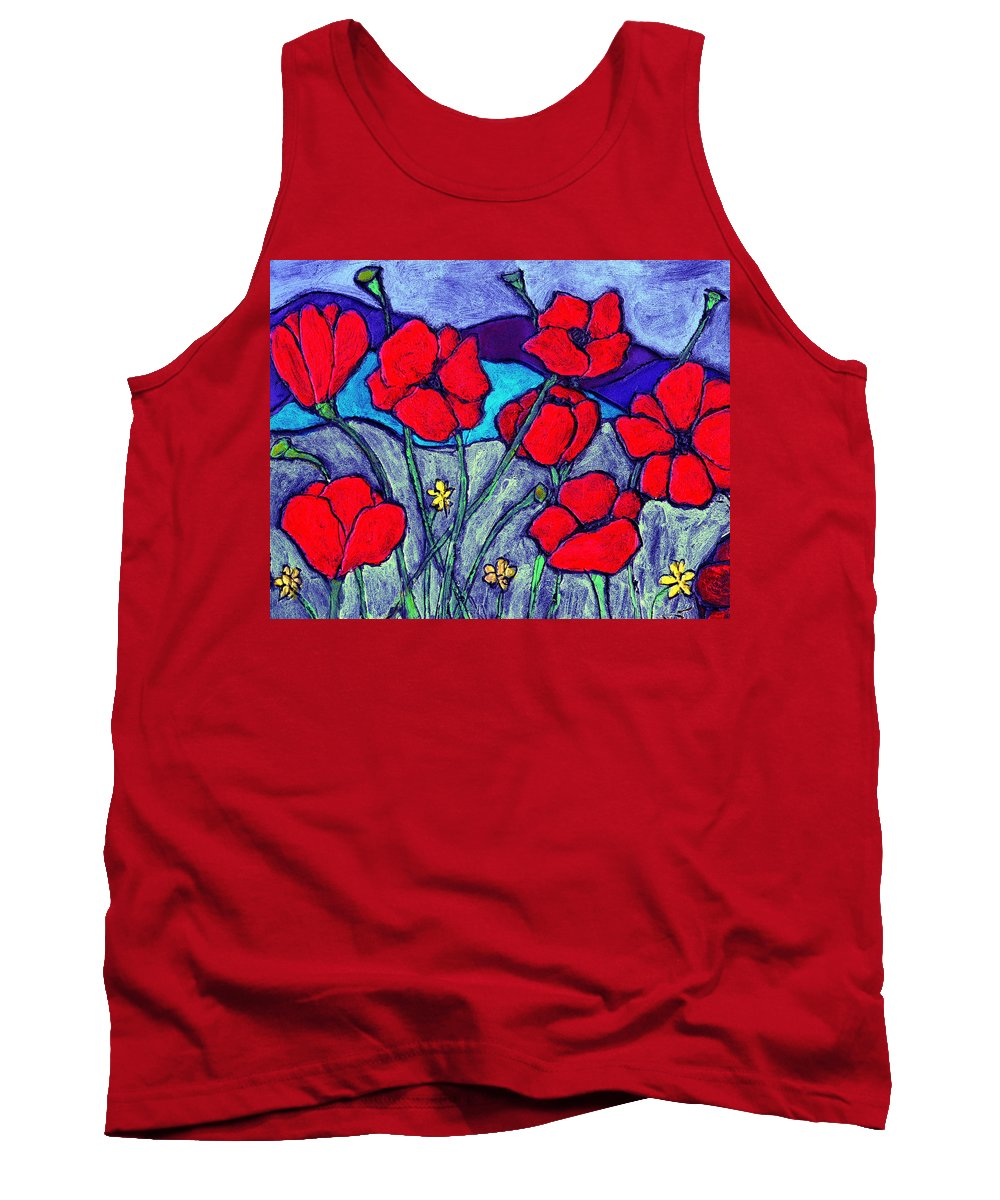 Flowers Tank Top featuring the painting Orange Red Poppies by Wayne Potrafka