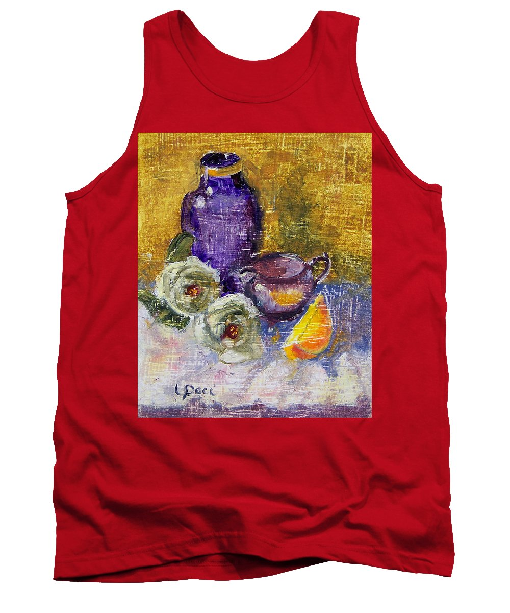 Vase Tank Top featuring the painting Orange Reflection by Laurie Paci