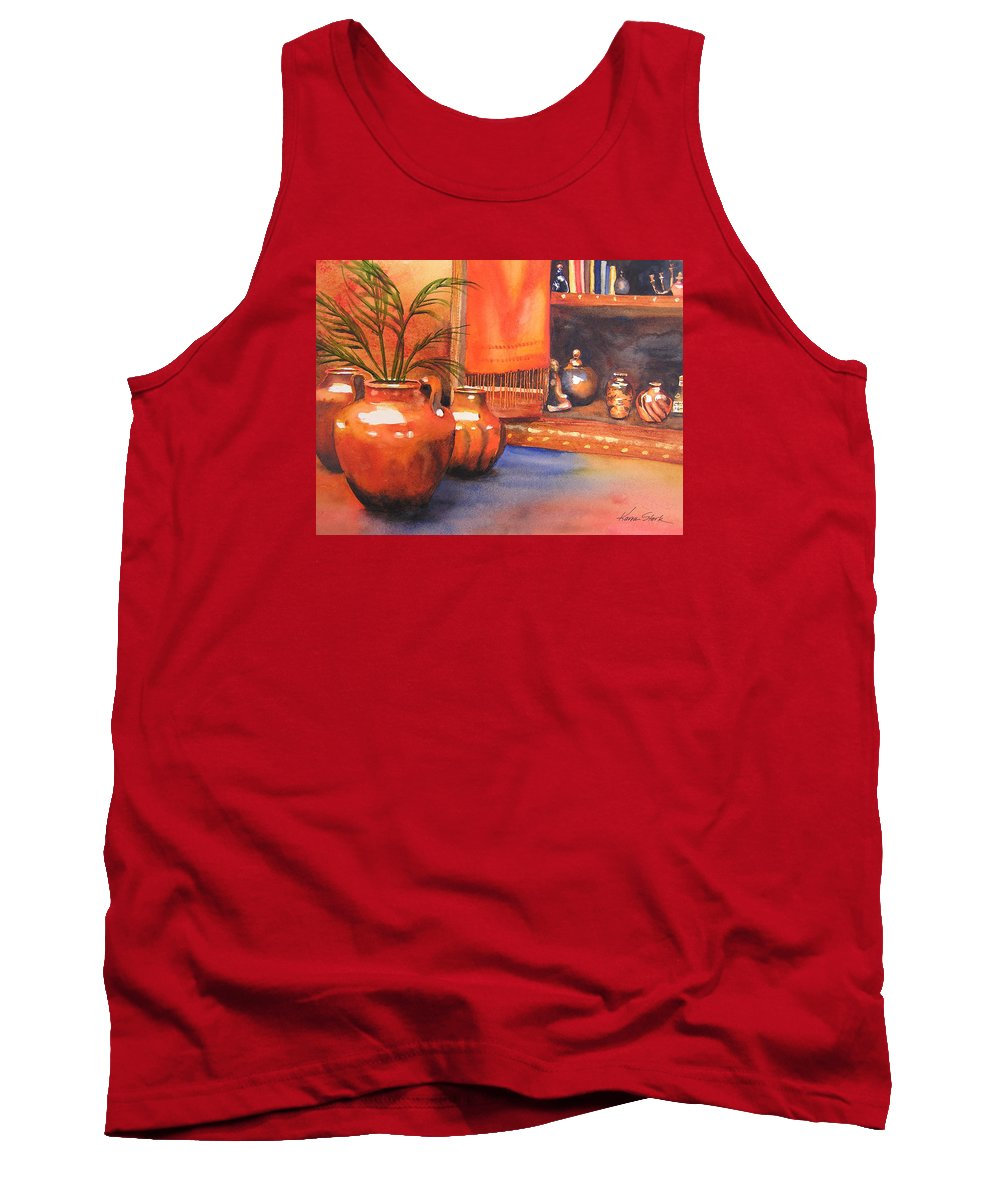 Pottery Tank Top featuring the painting Orange Scarf by Karen Stark