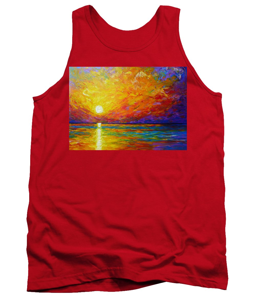 Landscape Tank Top featuring the painting Orange Sunset by Ericka Herazo