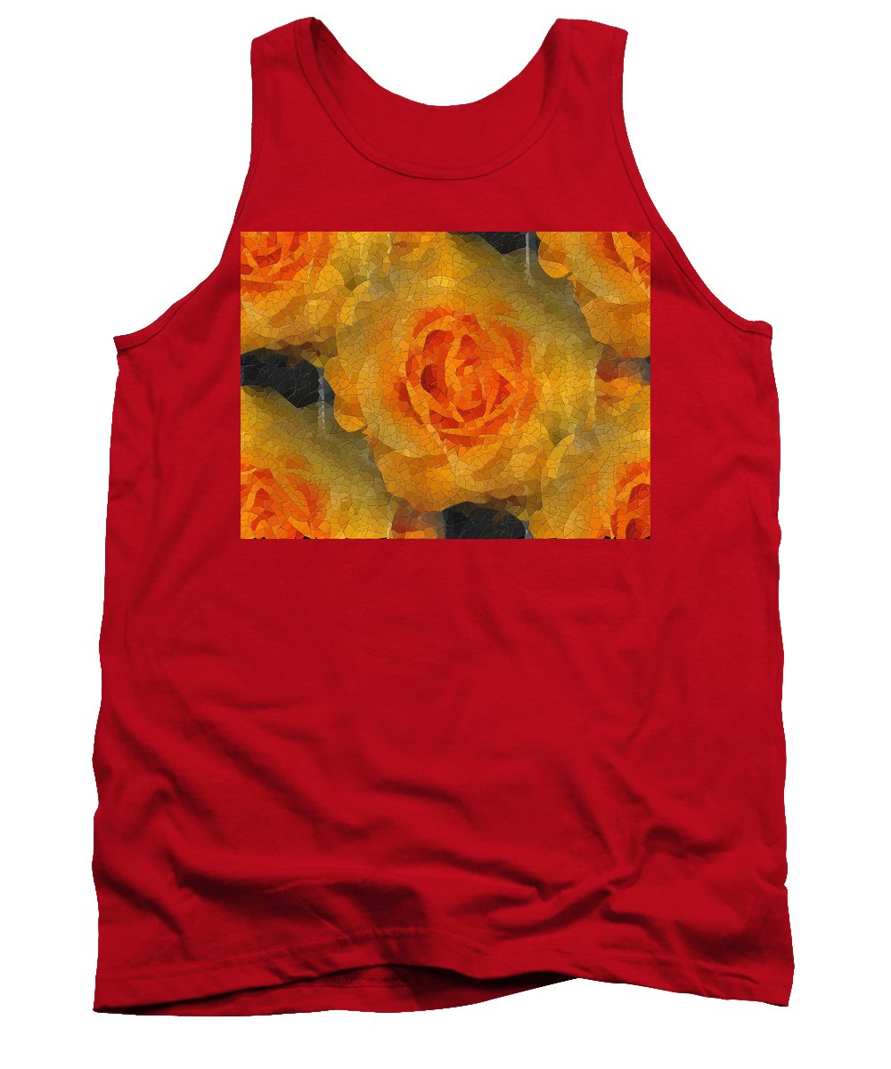 Flower Tank Top featuring the digital art Orange You Lovely by Tim Allen