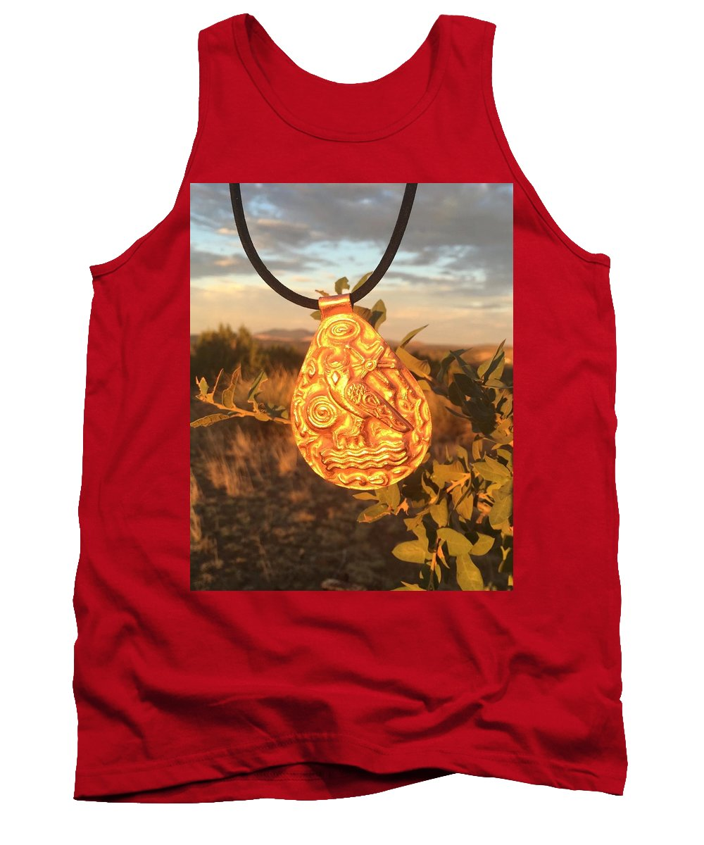 Copper Tank Top featuring the mixed media Owl Pendant by Daniel Turner