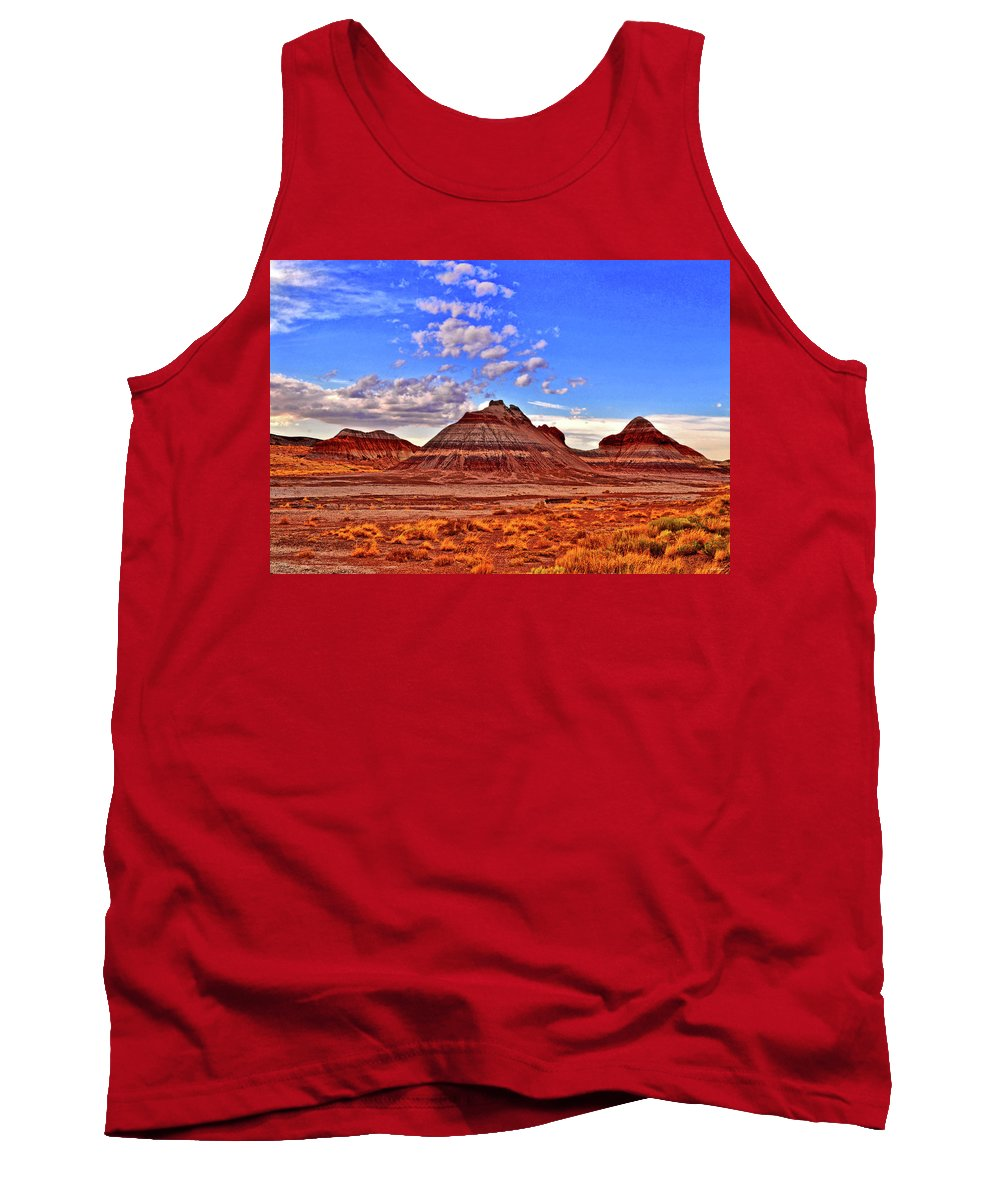 Clouds Tank Top featuring the photograph Painted Desert Colorful Mounds 003 by George Bostian