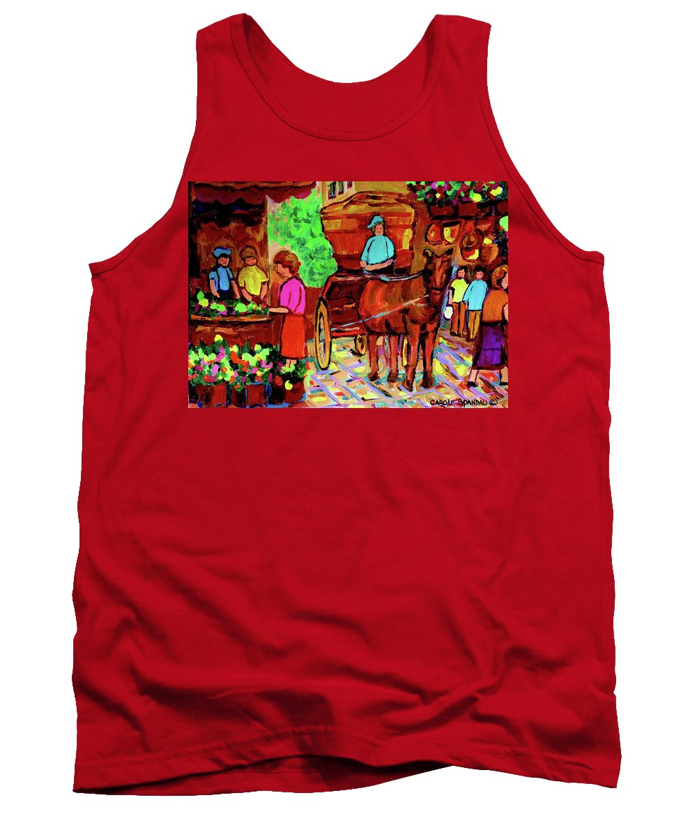 Montreal Tank Top featuring the painting Paintings Of Montreal Streets Old Montreal With Flower Cart And Caleche By Artist Carole Spandau by Carole Spandau
