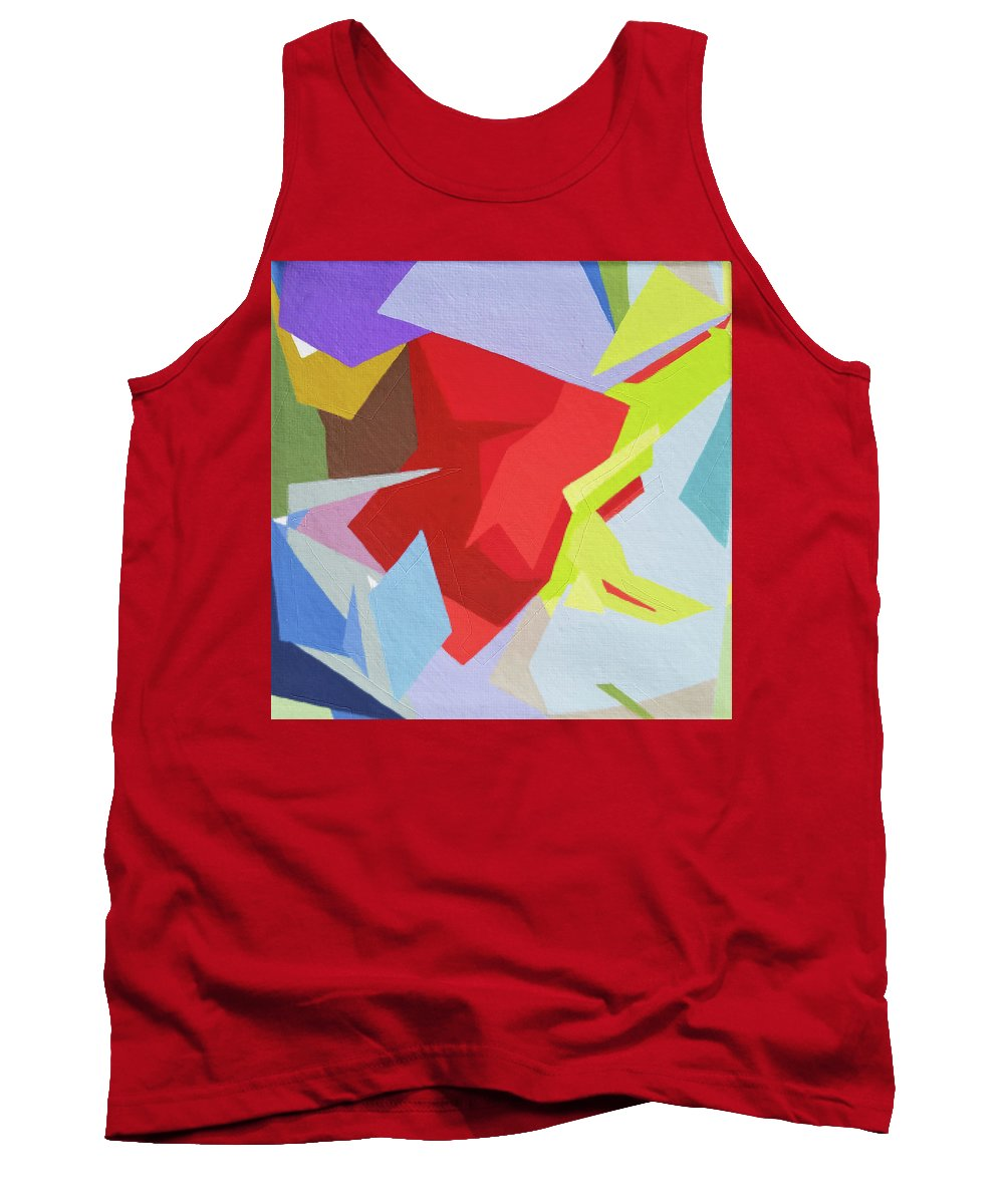 Abstract Tank Top featuring the painting Palette Bananier 1 by Muriel Dolemieux