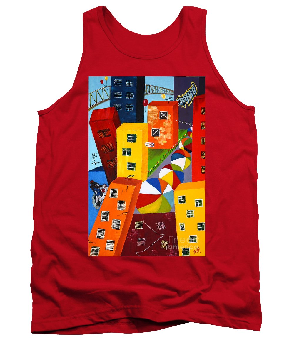 City Tank Top featuring the painting Parade The Day After by Barbara Teller
