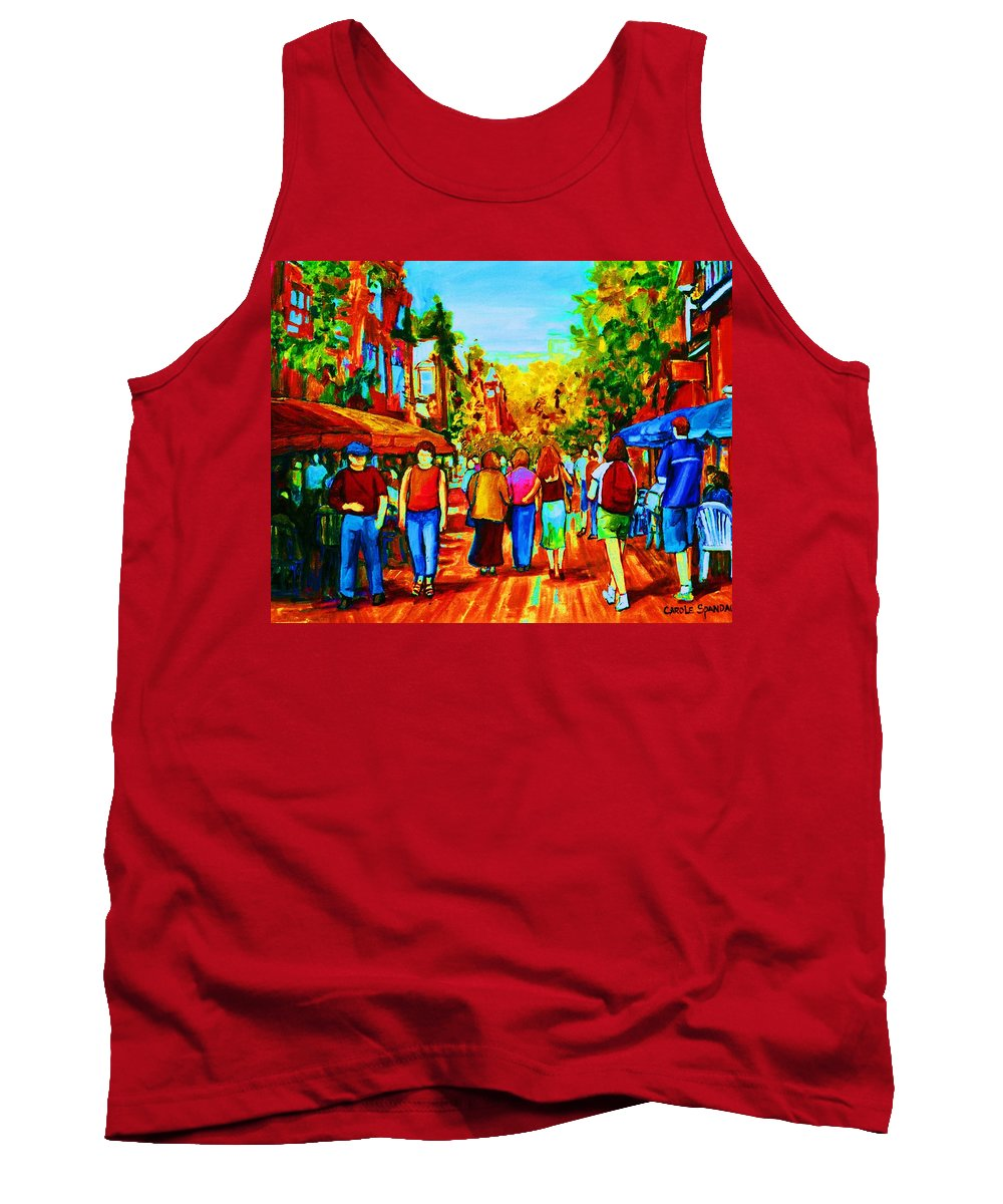 Cafe Scenes Tank Top featuring the painting Parisian Cafes by Carole Spandau