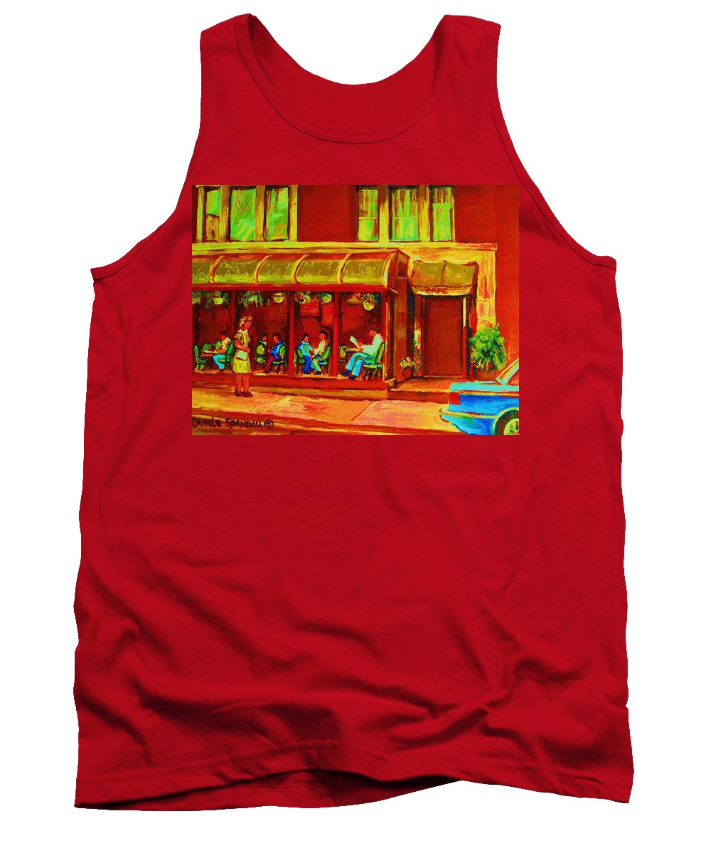 Montreal Tank Top featuring the painting Park Avenue Montreal Cafe Scene by Carole Spandau