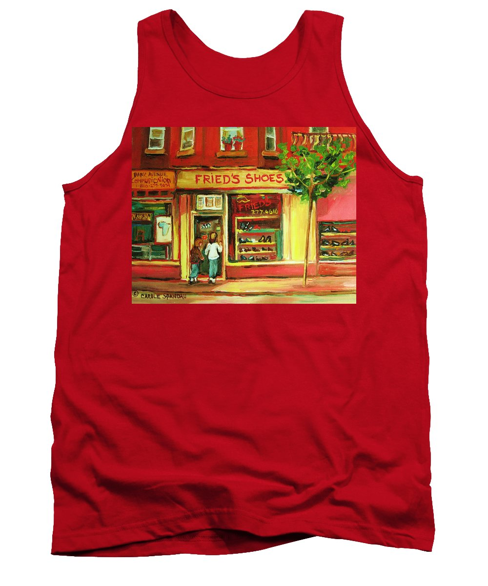 Montreal Tank Top featuring the painting Park Avenue Shoe Store by Carole Spandau