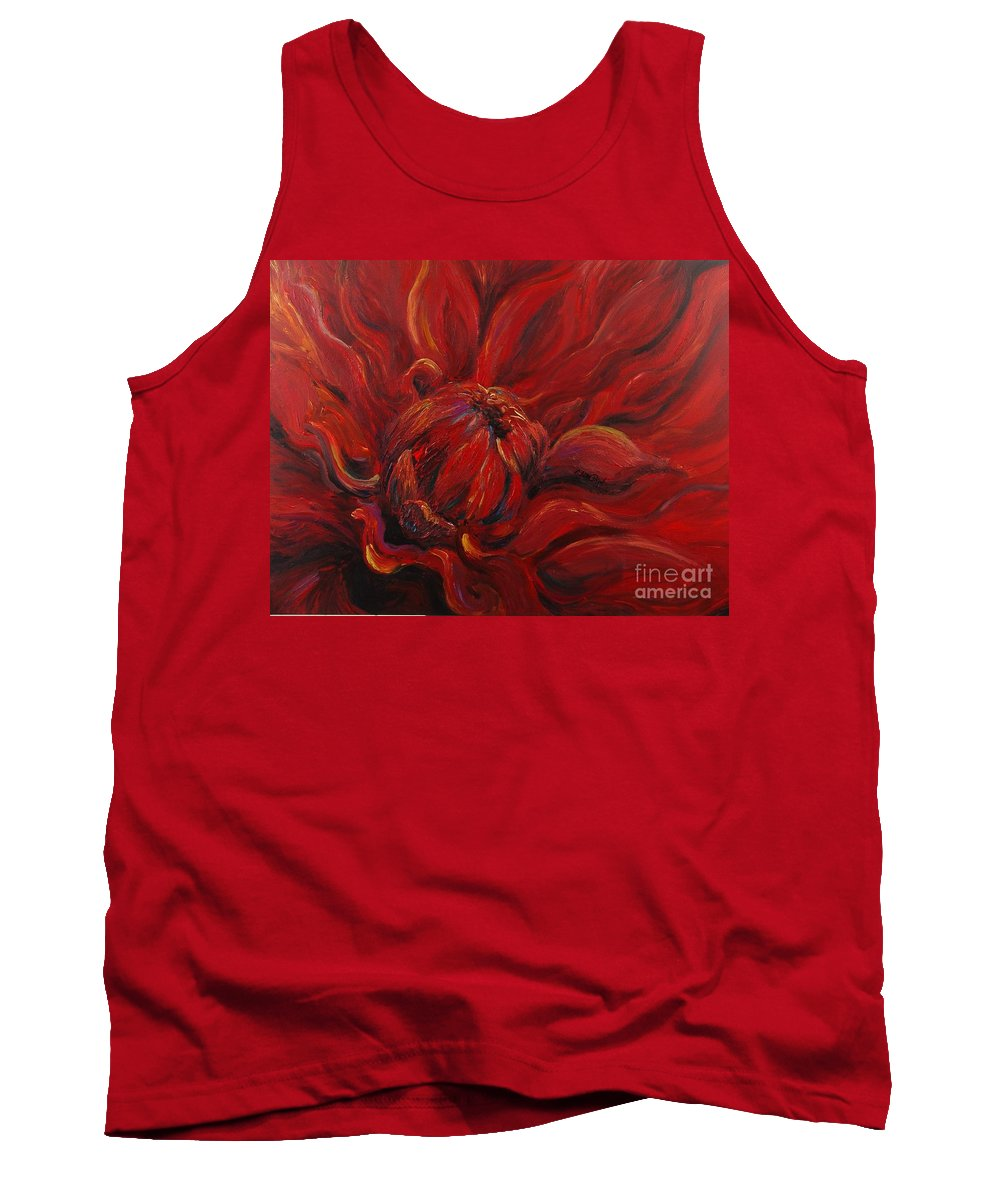 Red Tank Top featuring the painting Passion II by Nadine Rippelmeyer