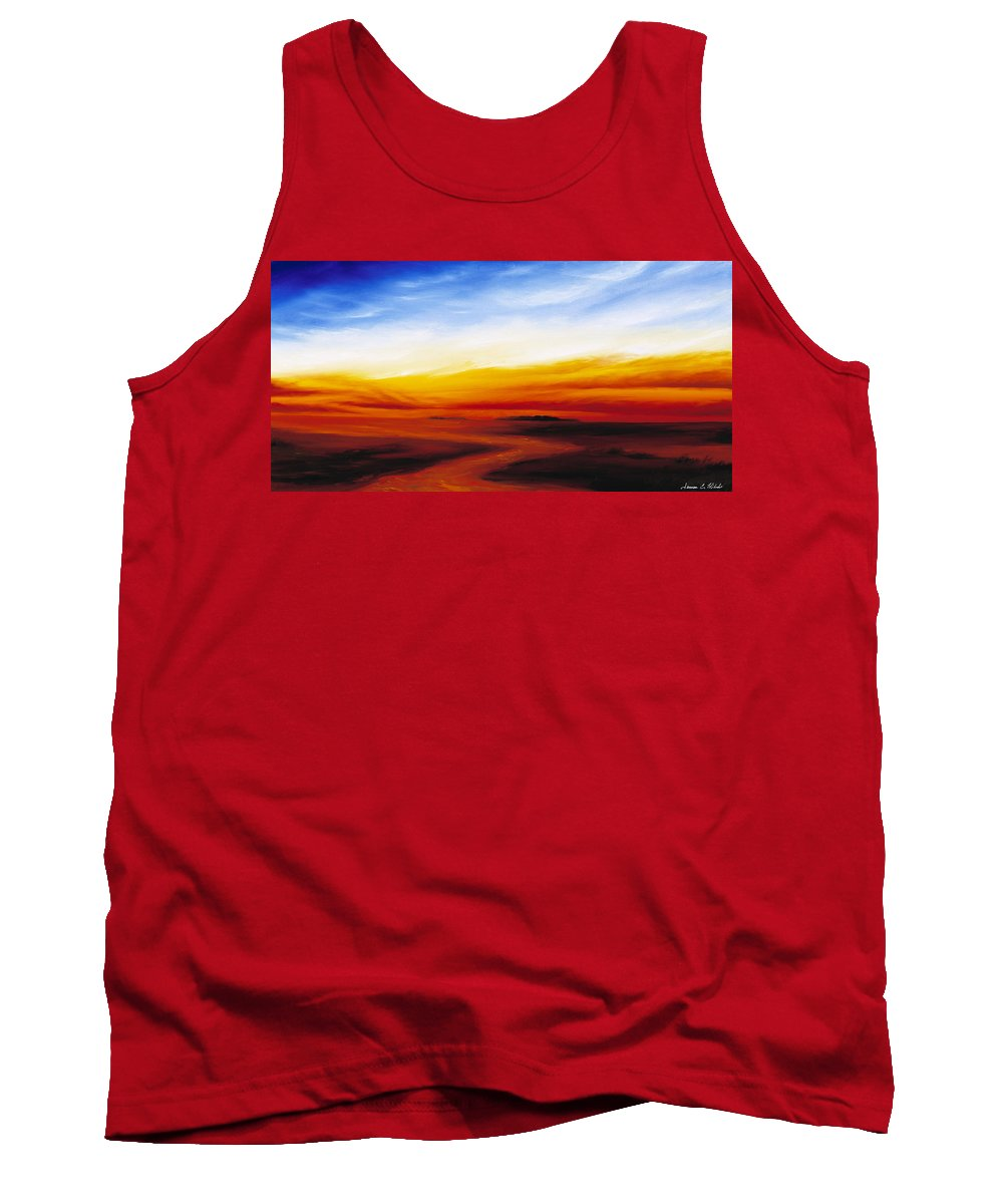 Sunrise Tank Top featuring the painting Path To Redemption by James Christopher Hill