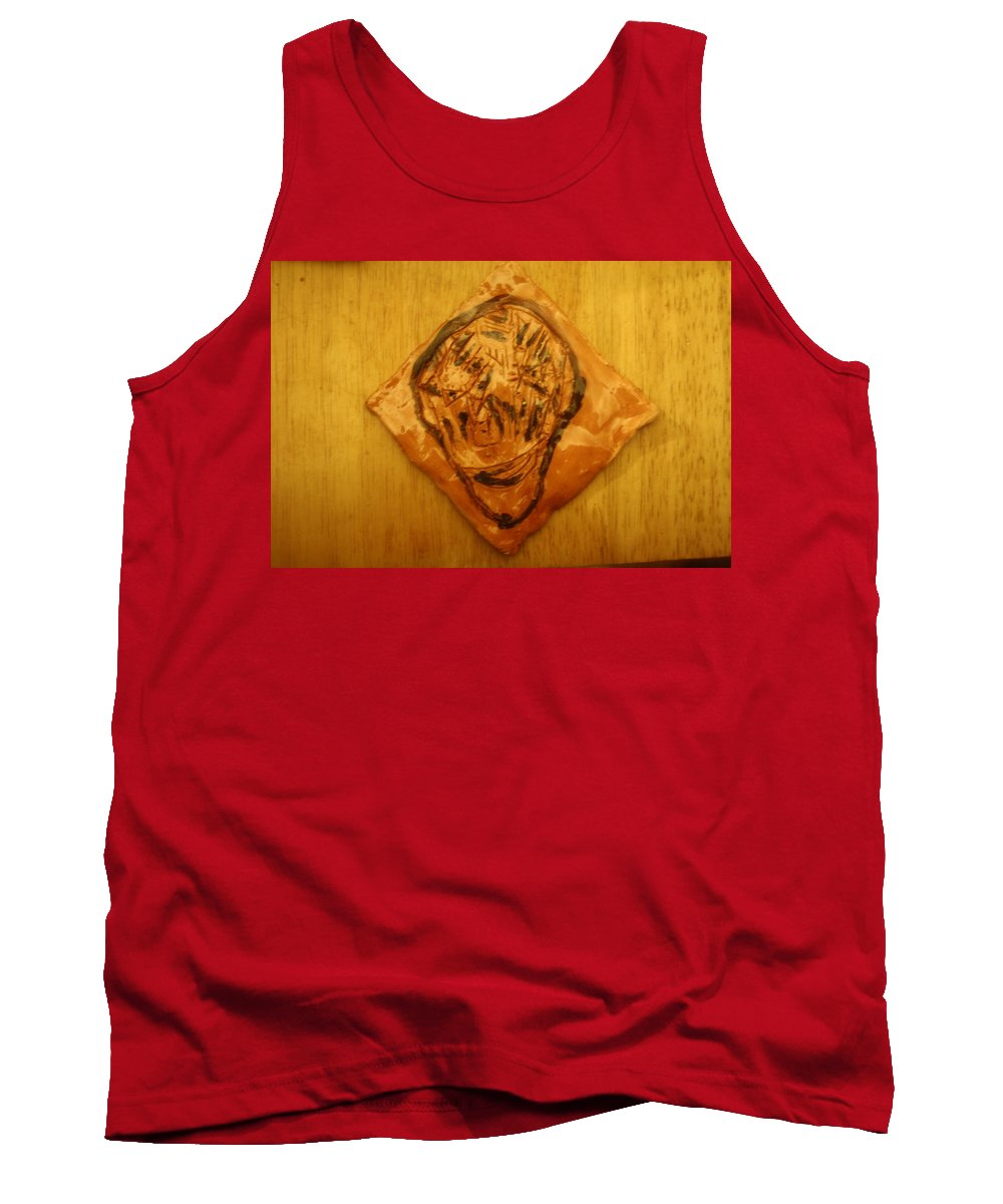 Jesus Tank Top featuring the ceramic art Patrick - Tile by Gloria Ssali