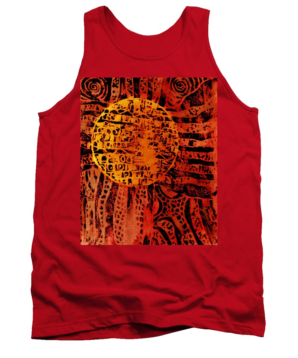 Abstract Tank Top featuring the painting Patterns In The Sun by Wayne Potrafka