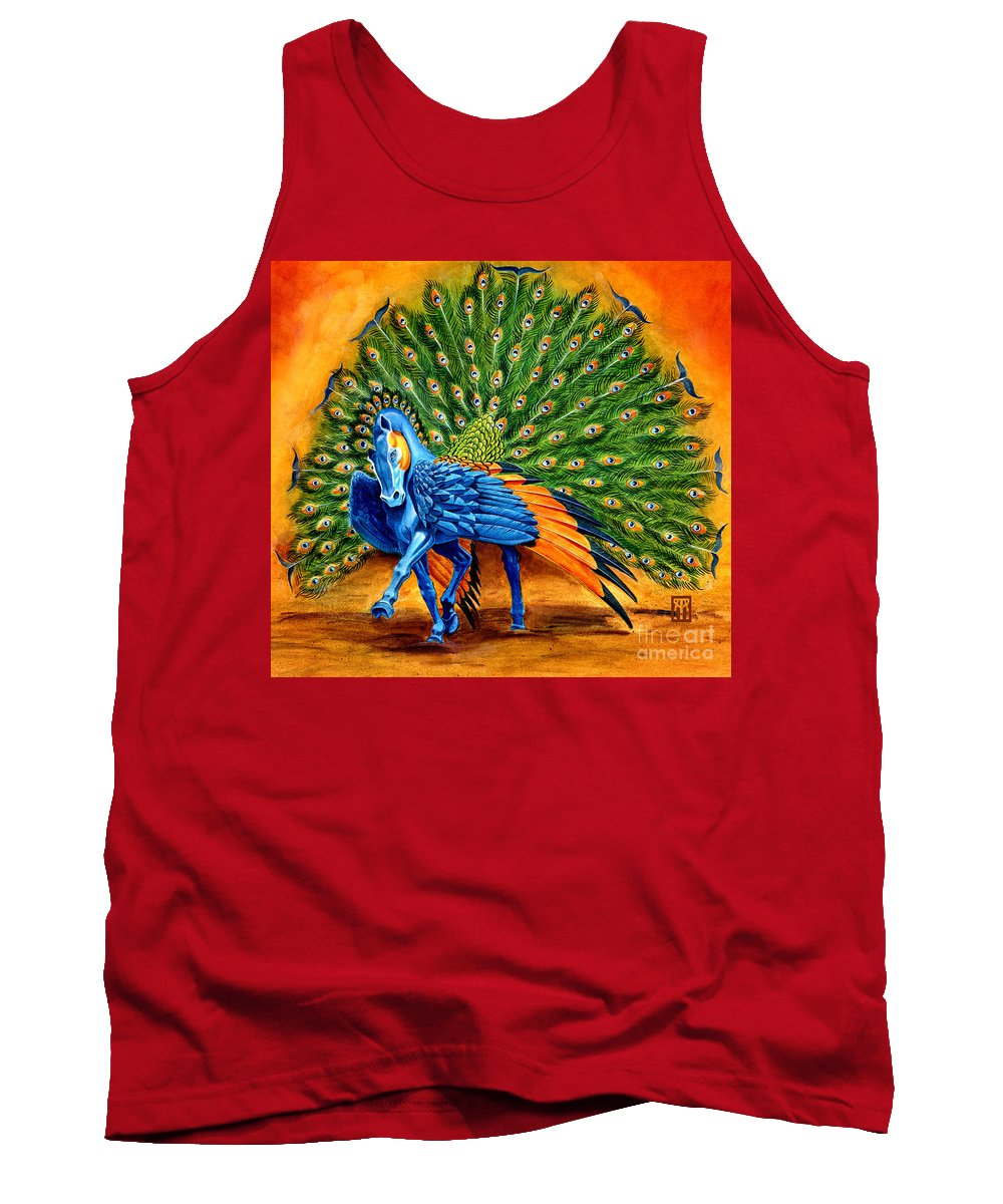 Horse Tank Top featuring the painting Peacock Pegasus by Melissa A Benson