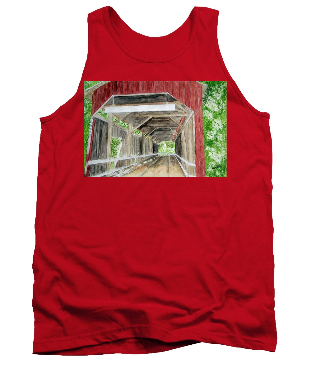 Covered Bridge Art Tank Top featuring the painting Pennsylvania Inside And Out by Larry Wright