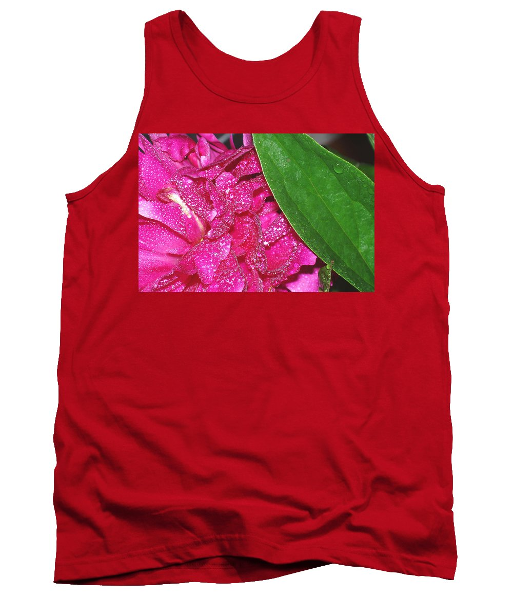 Peony Tank Top featuring the photograph Peony And Leaf by Nancy Mueller
