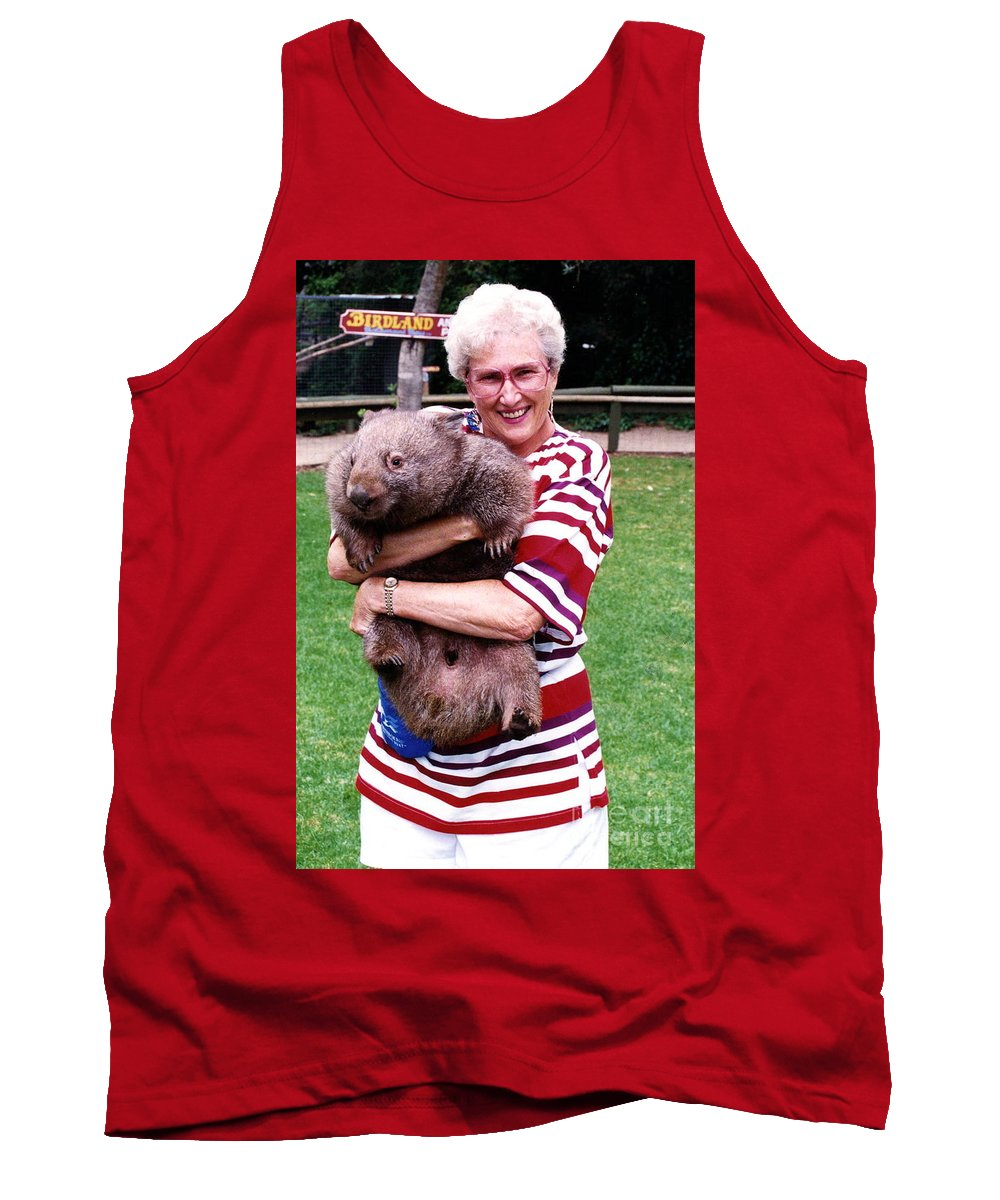 Phyllis Tank Top featuring the photograph Phyllis Holding Thirty Lb Wombat Australia by Phyllis Kaltenbach