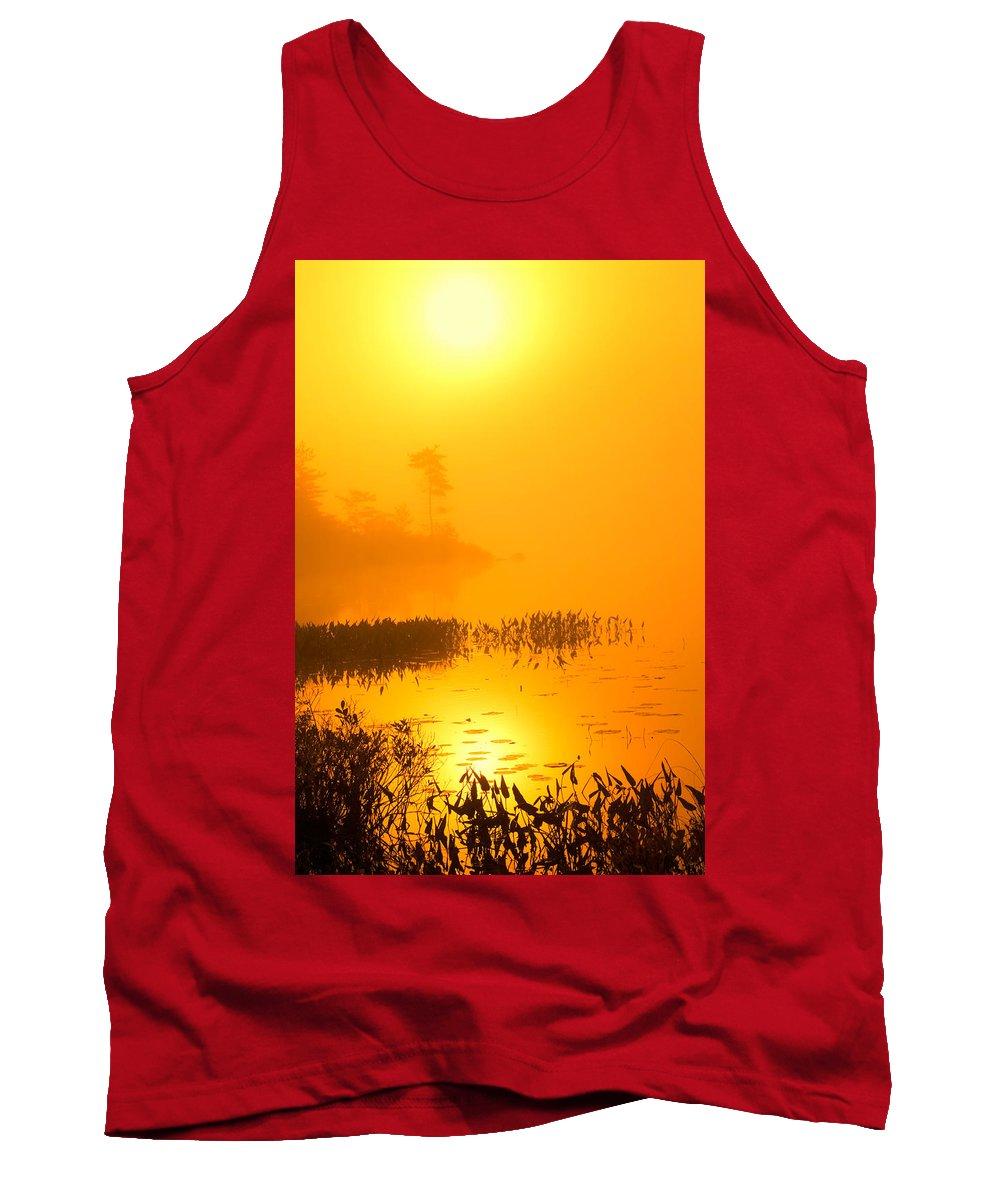 Misty Lake Tank Top featuring the photograph Pickerel Sunrise by Irwin Barrett