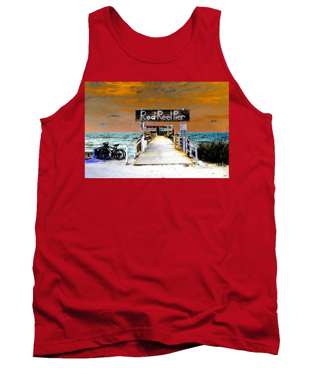 Art Tank Top featuring the painting Pier Scape by David Lee Thompson
