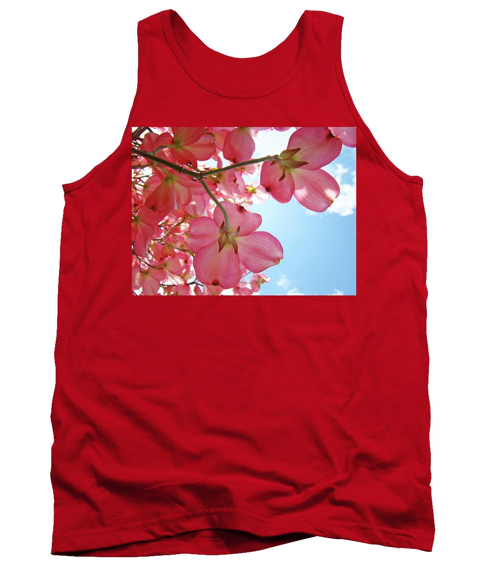 Dogwood Tank Top featuring the photograph Pink Flowering Dogwood Tree Art Prints Blue Sky Baslee Troutman by Baslee Troutman