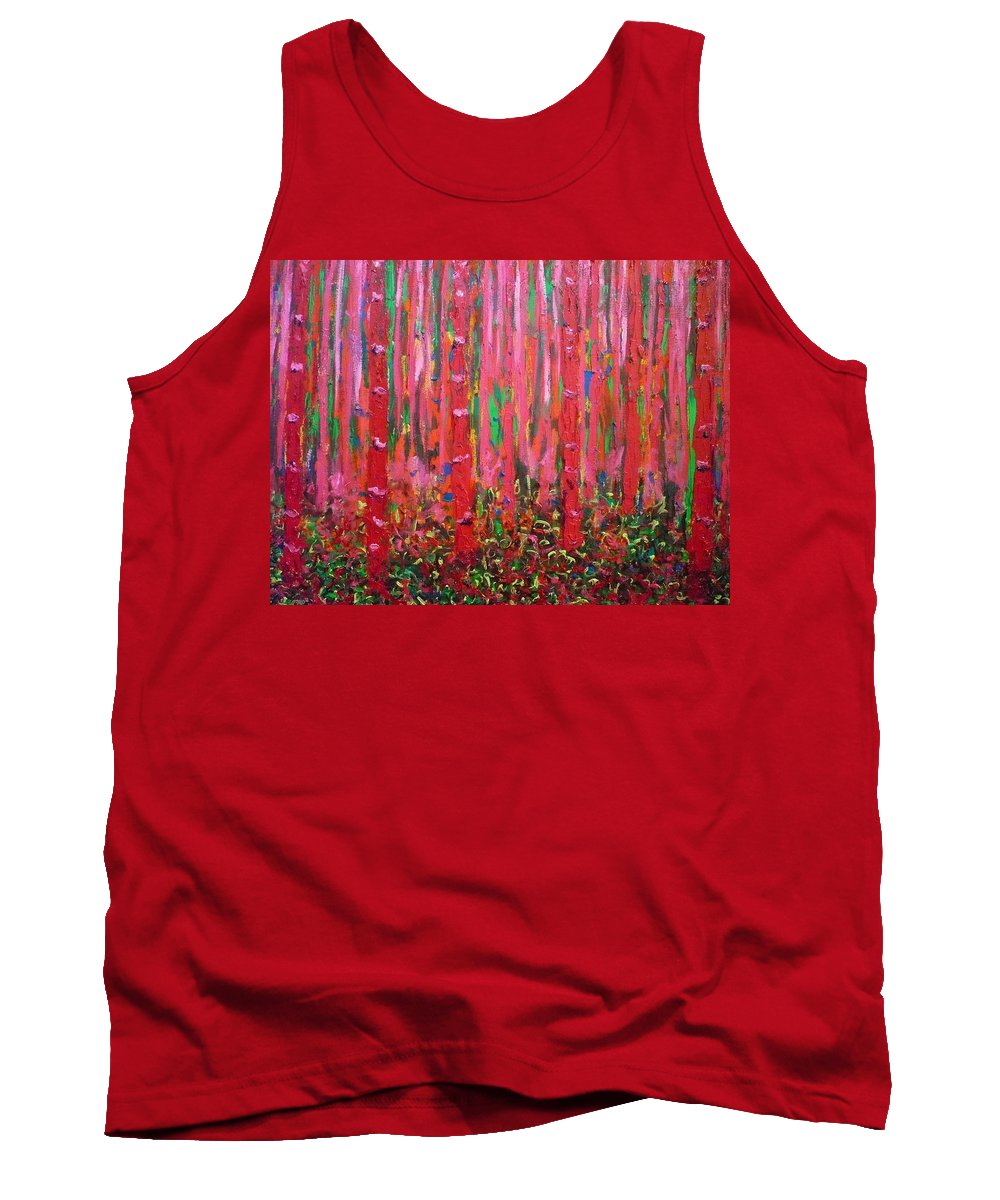 Pink Tank Top featuring the painting Pink Forest by Ericka Herazo