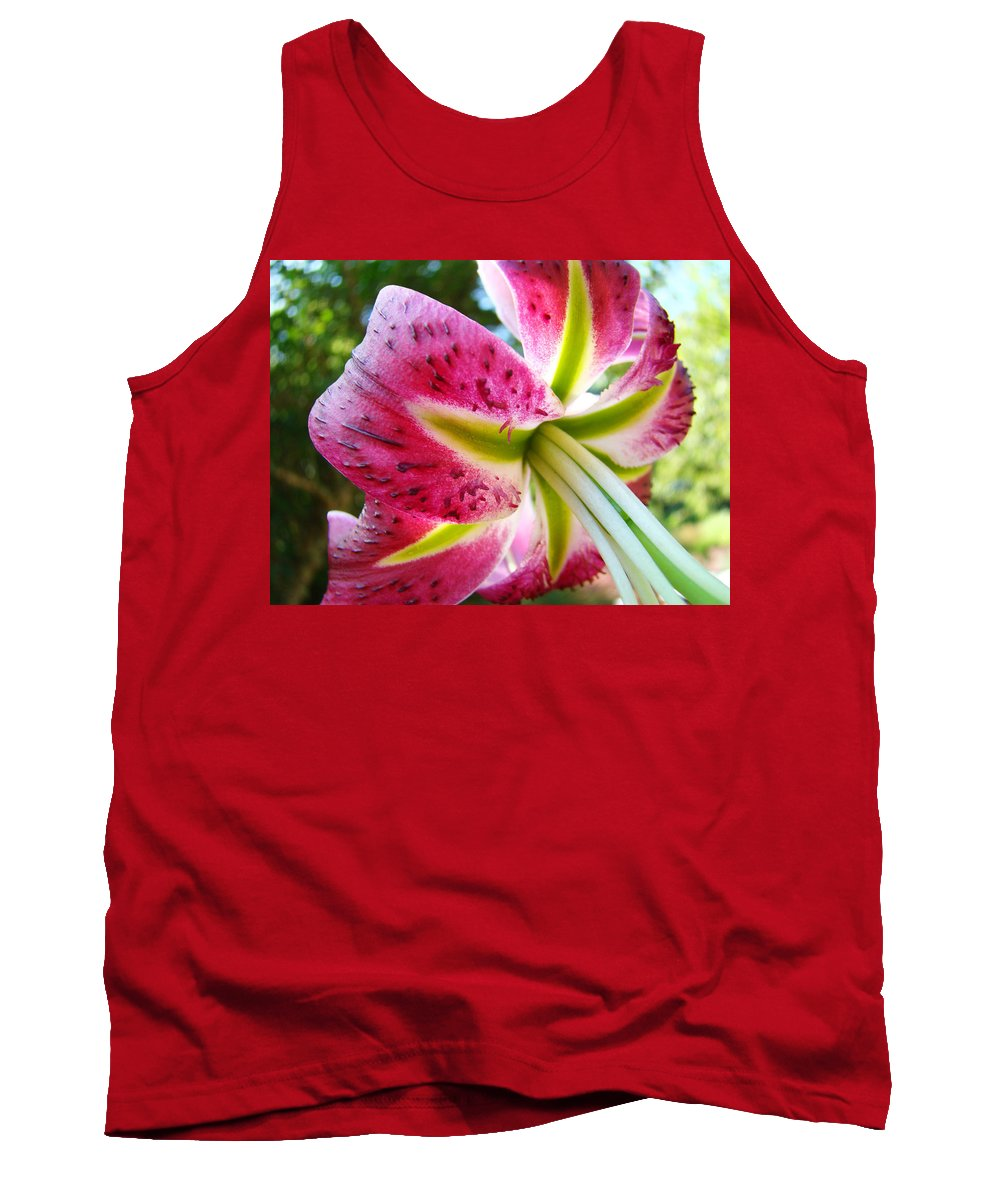 Lily Tank Top featuring the photograph Pink Lily Summer Botanical Garden Art Prints Baslee Troutman by Baslee Troutman