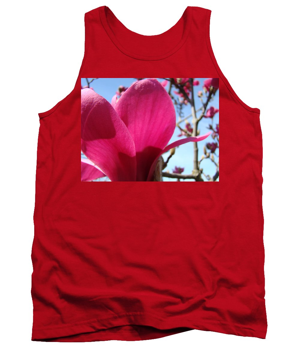 Magnolia Tank Top featuring the photograph Pink Magnolia Flowers Magnolia Tree Spring Art by Baslee Troutman