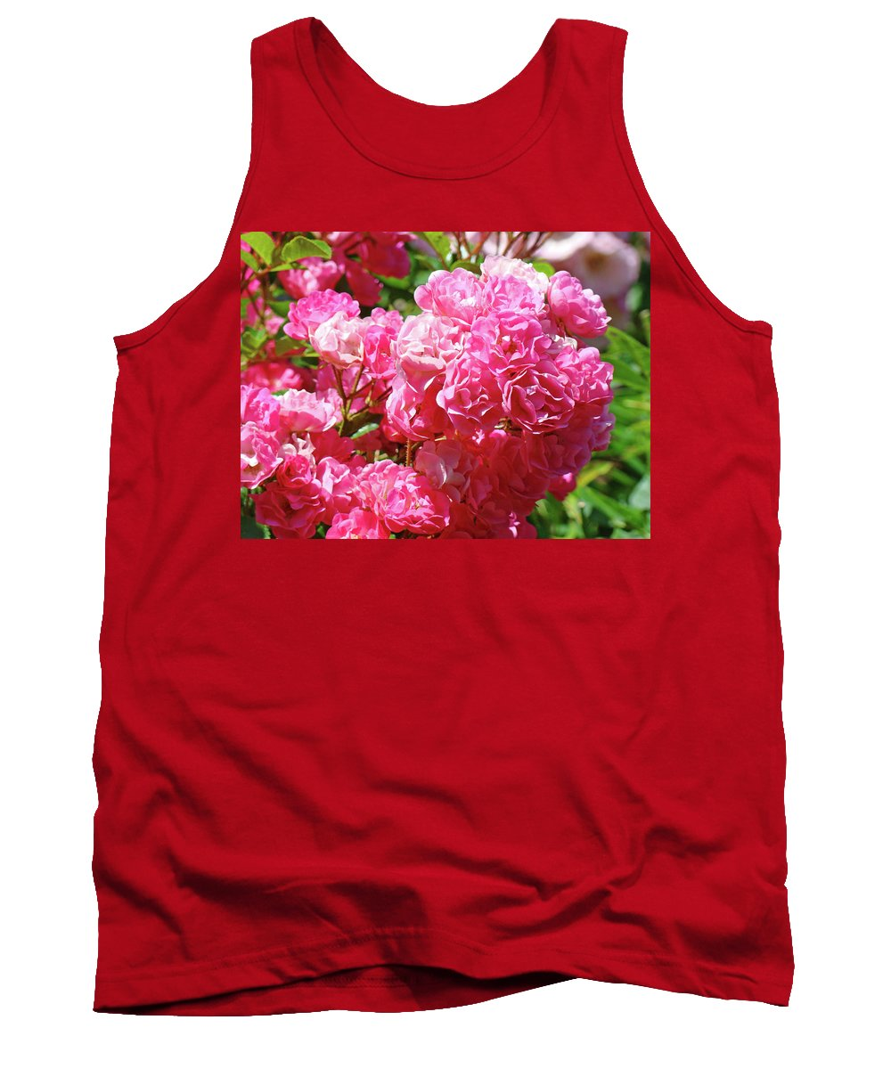 Rose Tank Top featuring the photograph Pink Roses Summer Rose Garden Roses Giclee Art Prints Baslee Troutman by Baslee Troutman