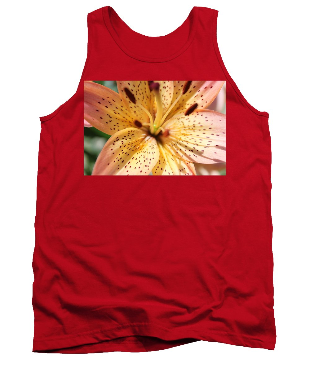 Lilly Tank Top featuring the photograph Pink Spotted Lilly by Lauri Novak