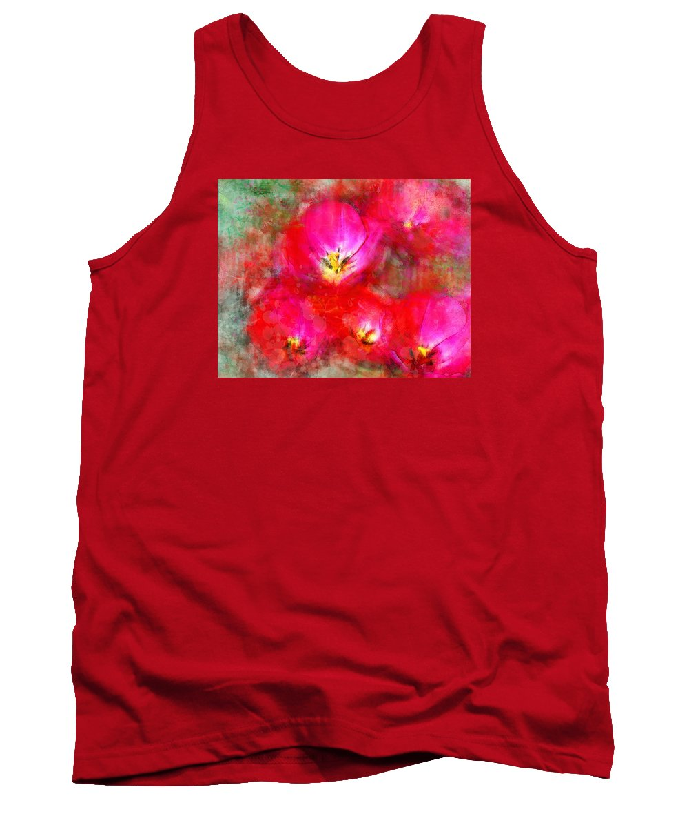 Tulips Tank Top featuring the digital art Pink Tulips by Moon Stumpp