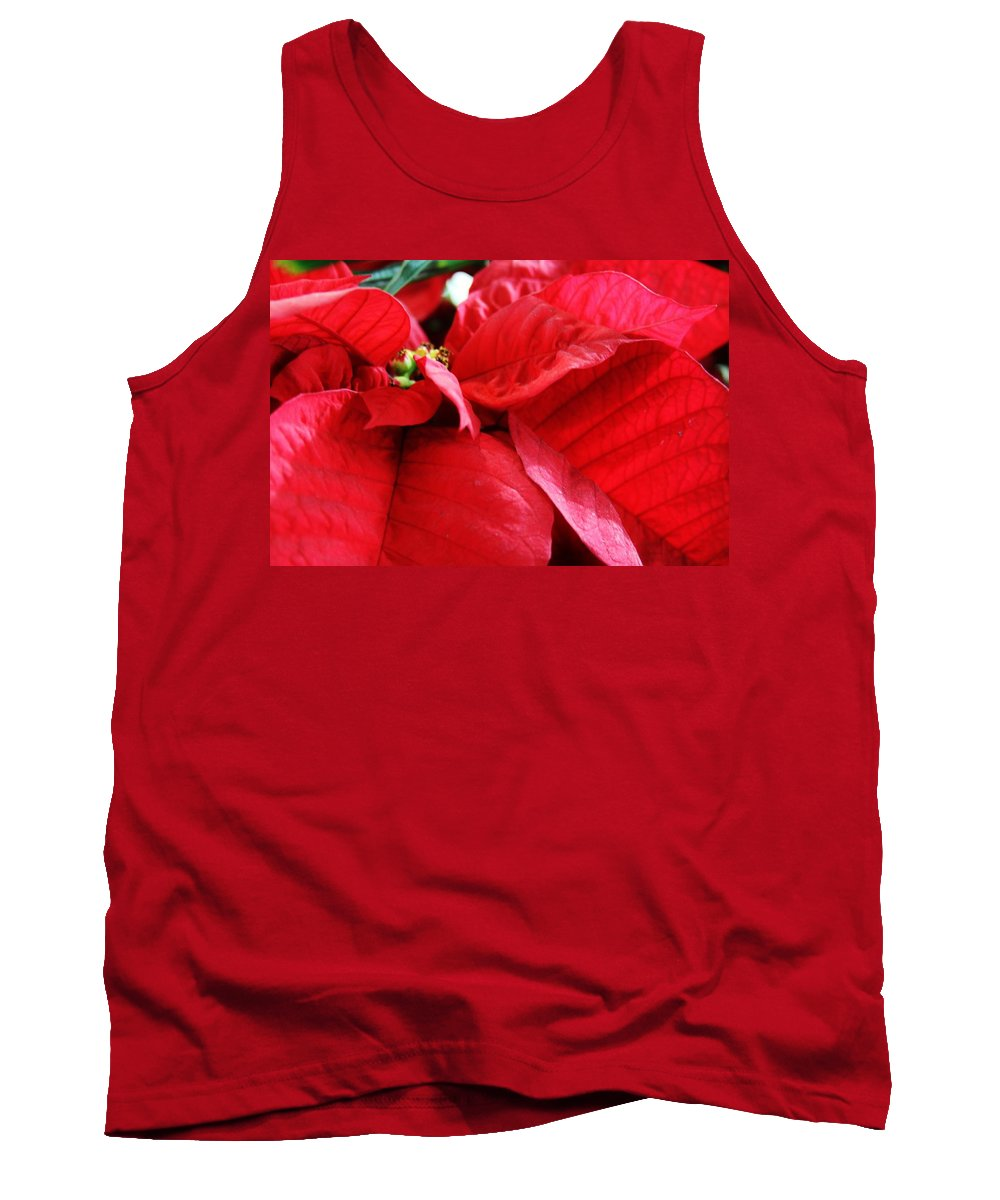Poinsettia In Bloom Tank Top featuring the photograph Poinsettia In Bloom by Lori Mahaffey