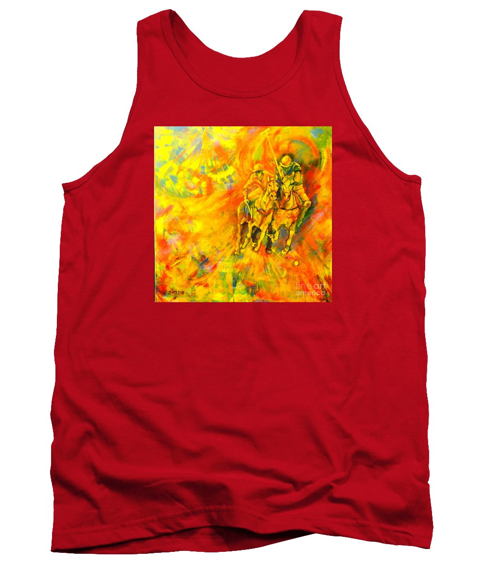 Horses Tank Top featuring the painting Poloplayer by Dagmar Helbig