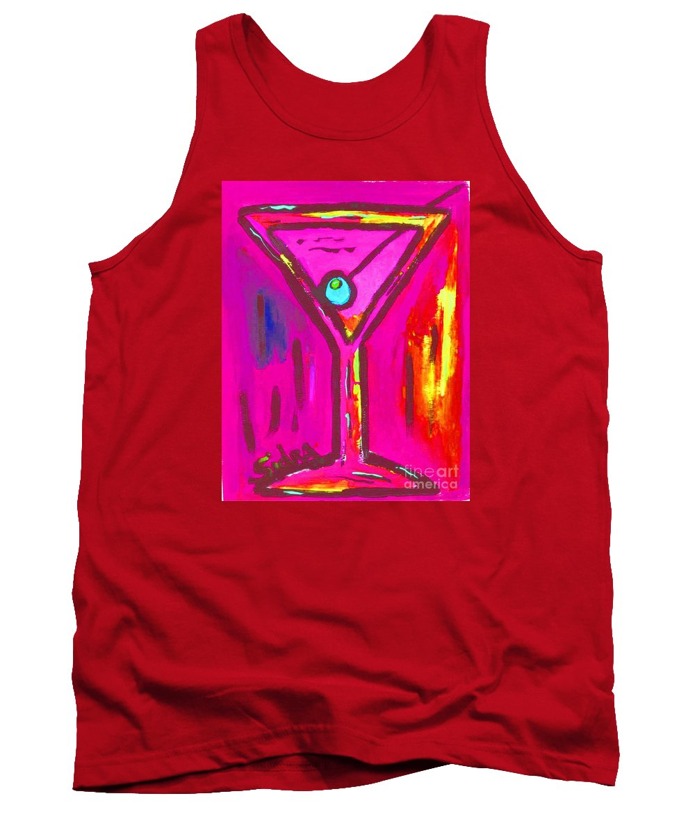 Martini Tank Top featuring the painting Pop Art Martini Pink Neon Series 1989 by Sidra Myers