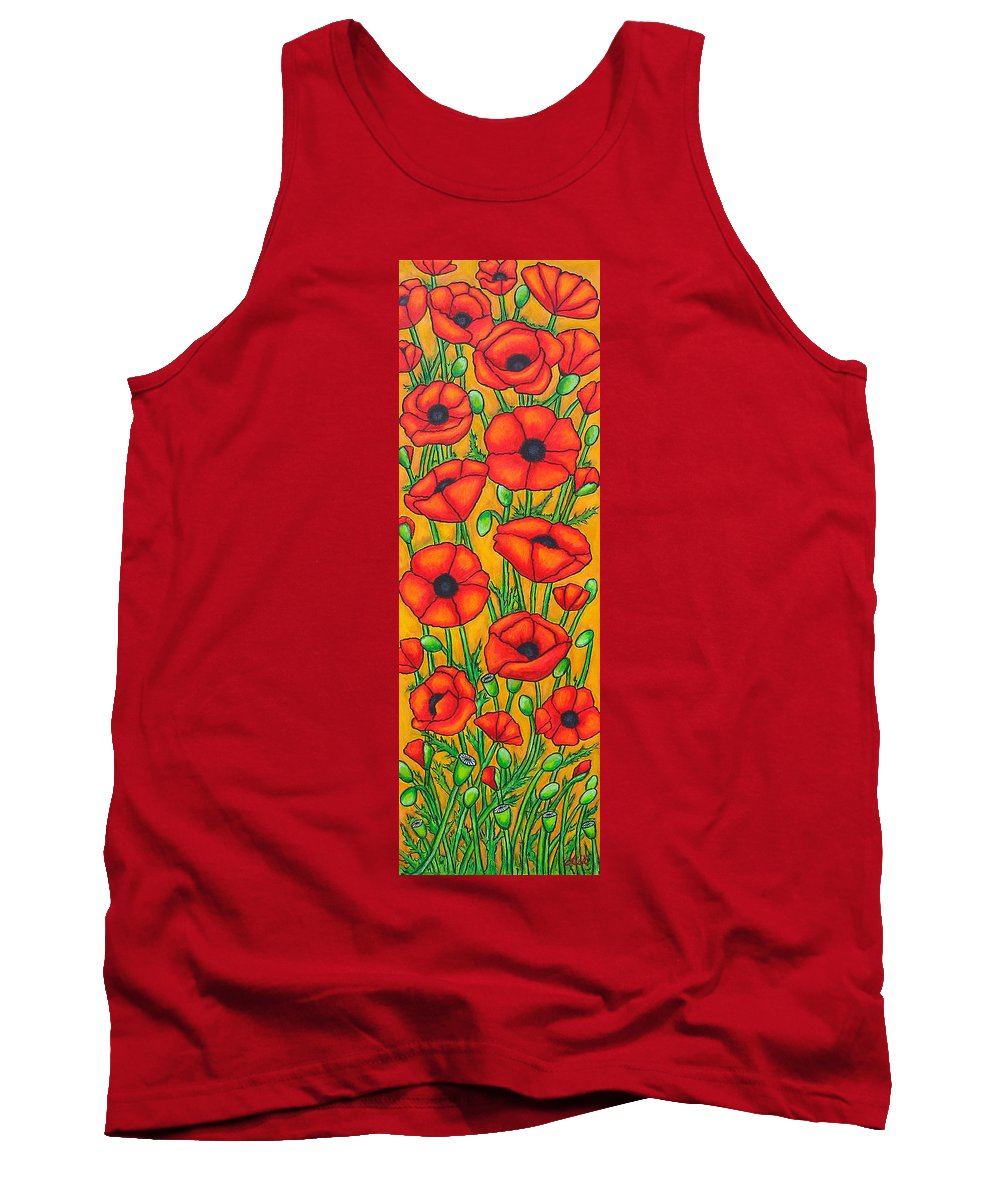 Poppies Tank Top featuring the painting Poppies Under The Tuscan Sun by Lisa Lorenz
