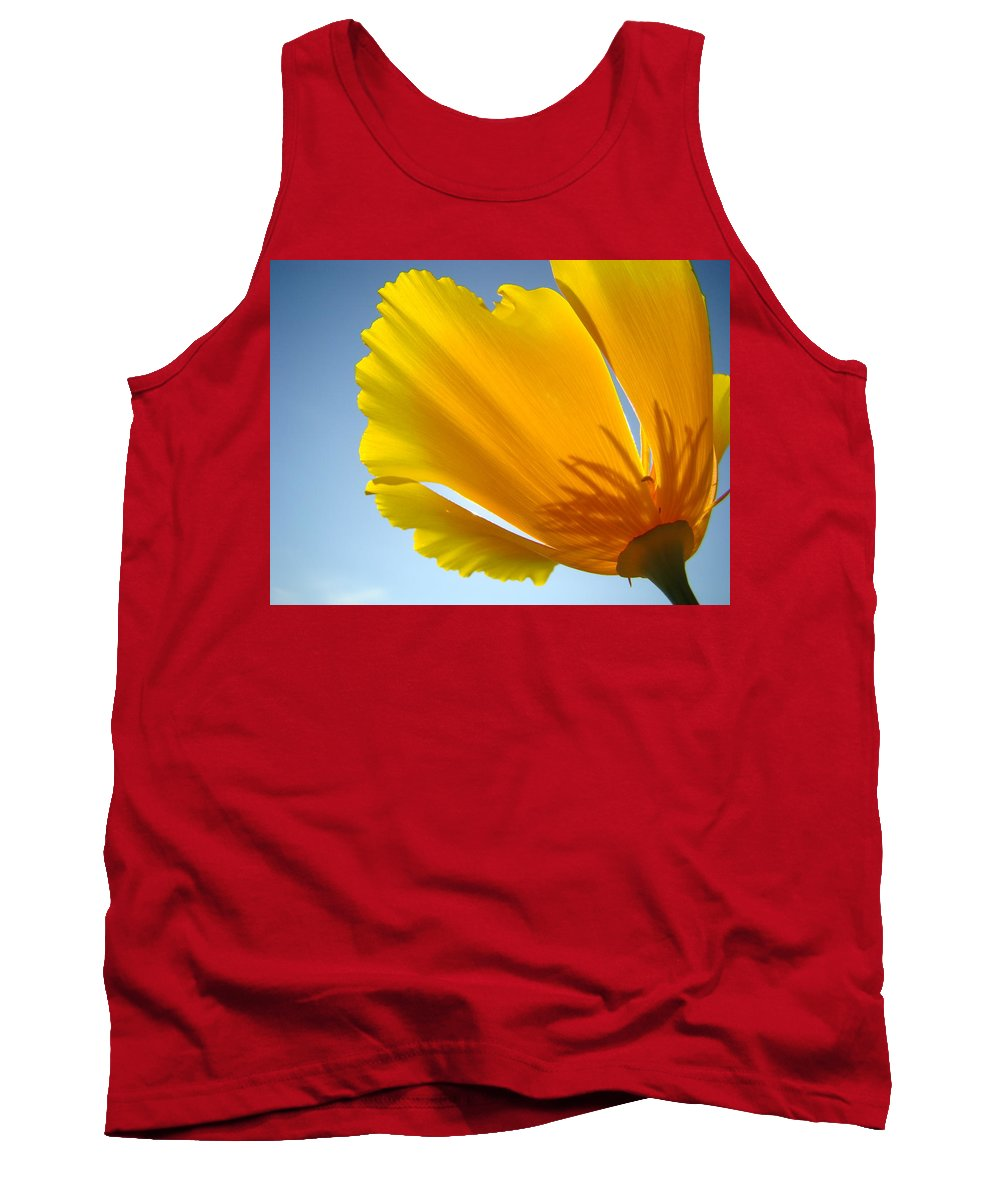 �poppies Artwork� Tank Top featuring the photograph Poppy Flower Art Print Poppies 13 Botanical Floral Art Blue Sky by Baslee Troutman