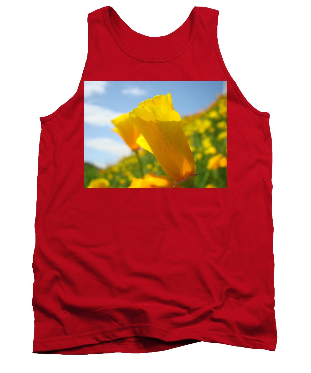 �poppies Artwork� Tank Top featuring the photograph Poppy Flowers Meadow 3 Sunny Day Art Blue Sky Landscape by Baslee Troutman