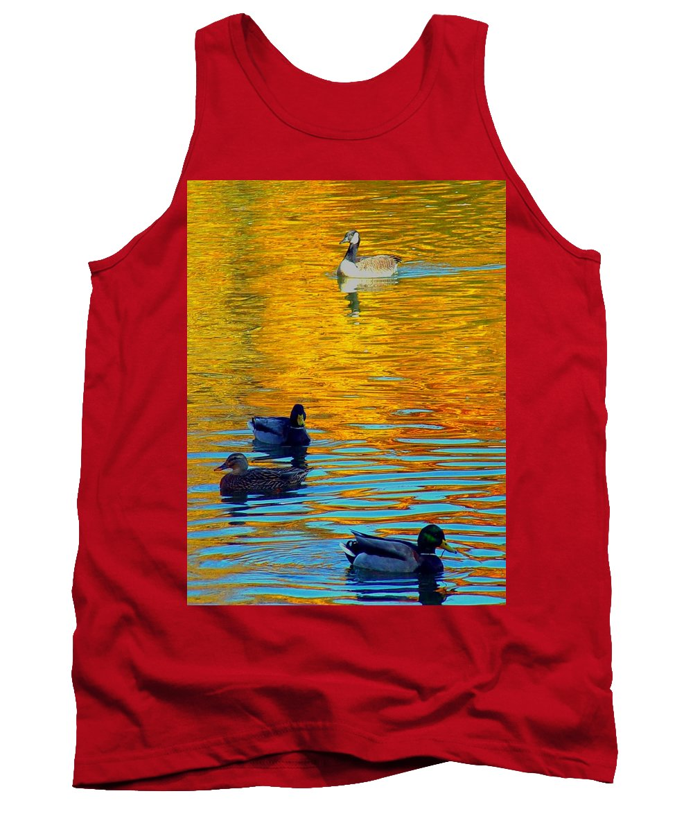 Ducks Malard Lake Gold Canada Geese Blue Tank Top featuring the photograph Possibilities by Jack Diamond