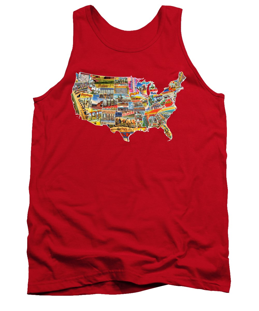 Postcards Tank Top featuring the mixed media Postcards Of The United States Vintage Usa Lower 48 Map Choose Your Own Background by Design Turnpike
