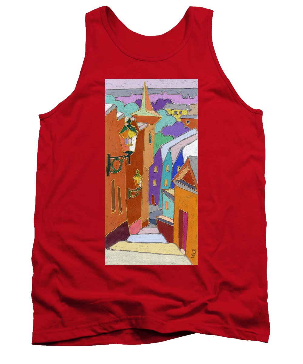 Pastel Tank Top featuring the painting Prague Old Steps Winter by Yuriy Shevchuk