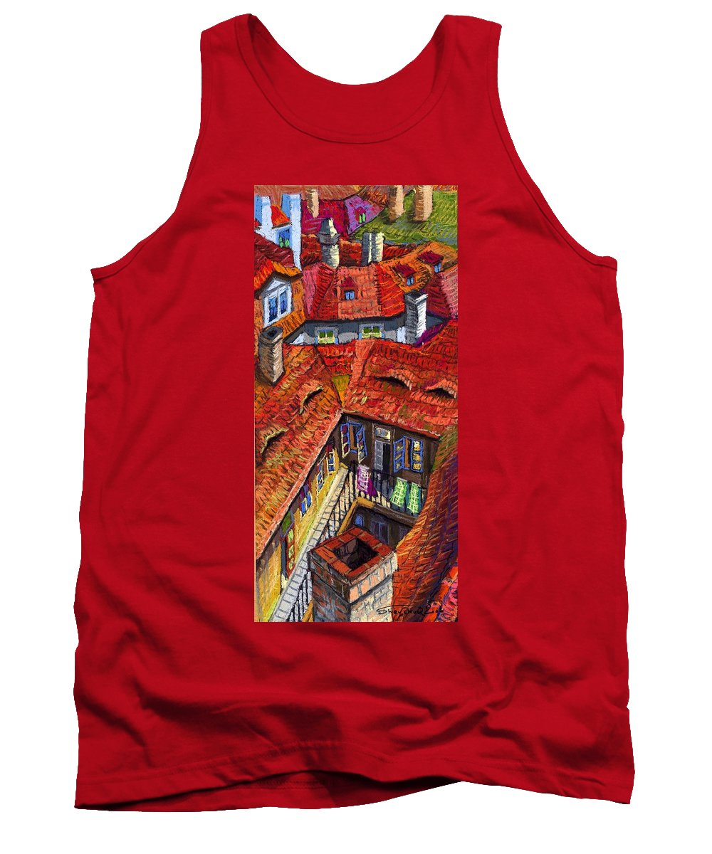 Pastel Tank Top featuring the painting Prague roofs 01 by Yuriy Shevchuk