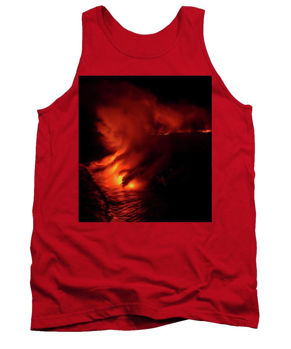 Volcano Tank Top featuring the photograph Predawn Pouroff by Allen Biedrzycki