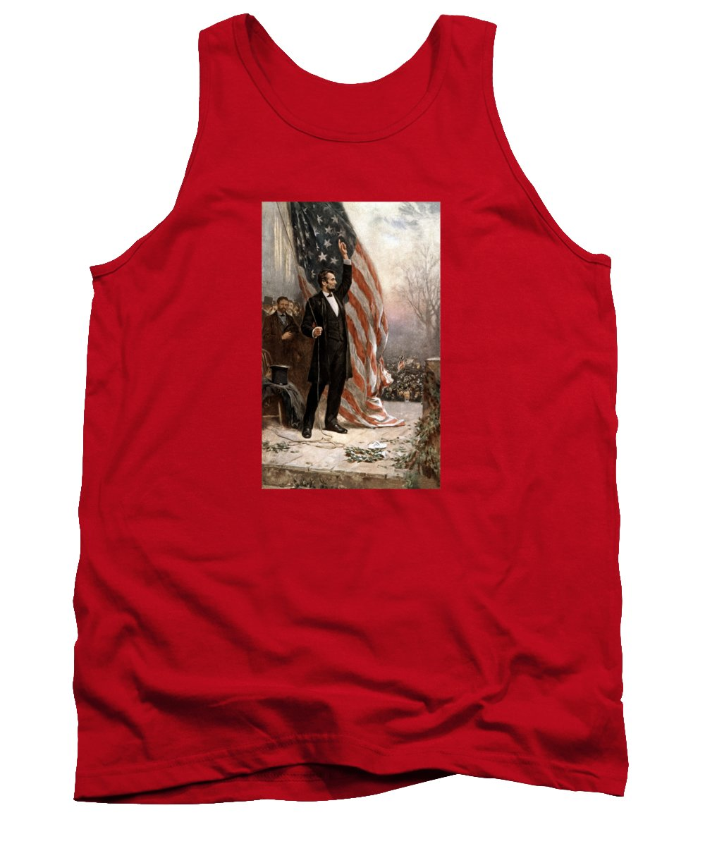 Abraham Lincoln Tank Top featuring the painting President Abraham Lincoln Giving A Speech by War Is Hell Store