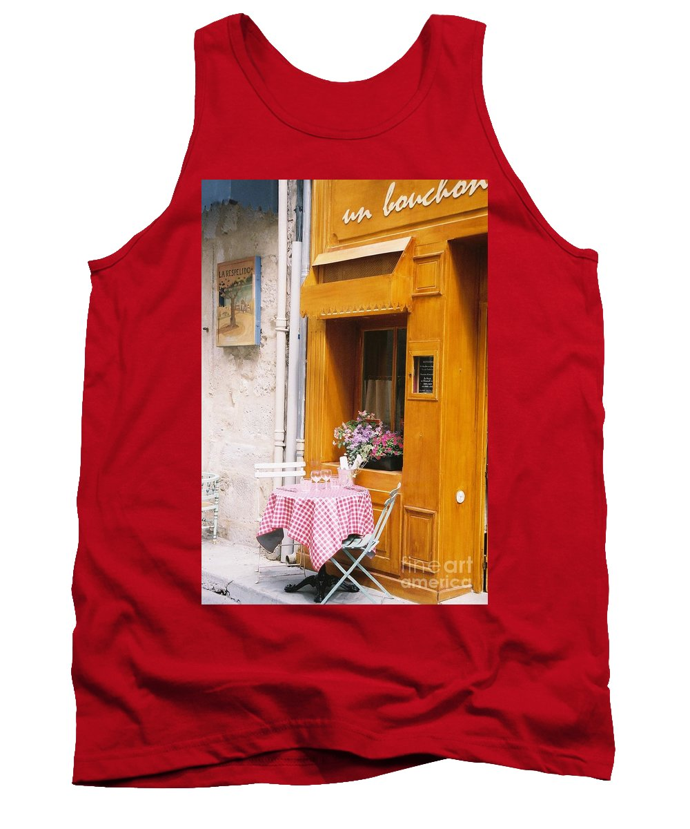 Cafe Tank Top featuring the photograph Provence Cafe by Nadine Rippelmeyer