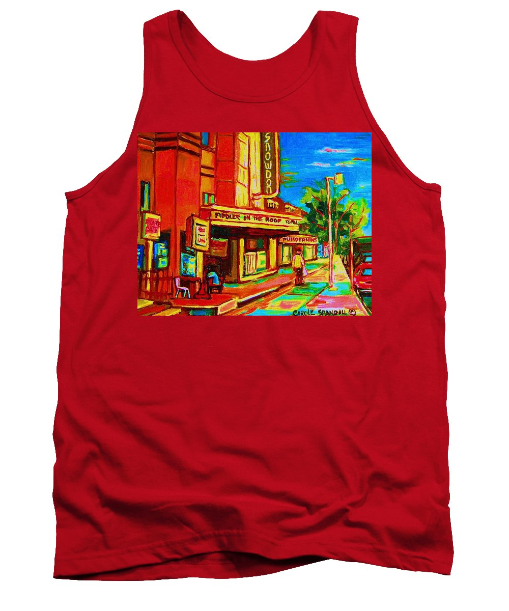 Pumperniks Tank Top featuring the painting Pumperniks And The Snowdon Theatre by Carole Spandau