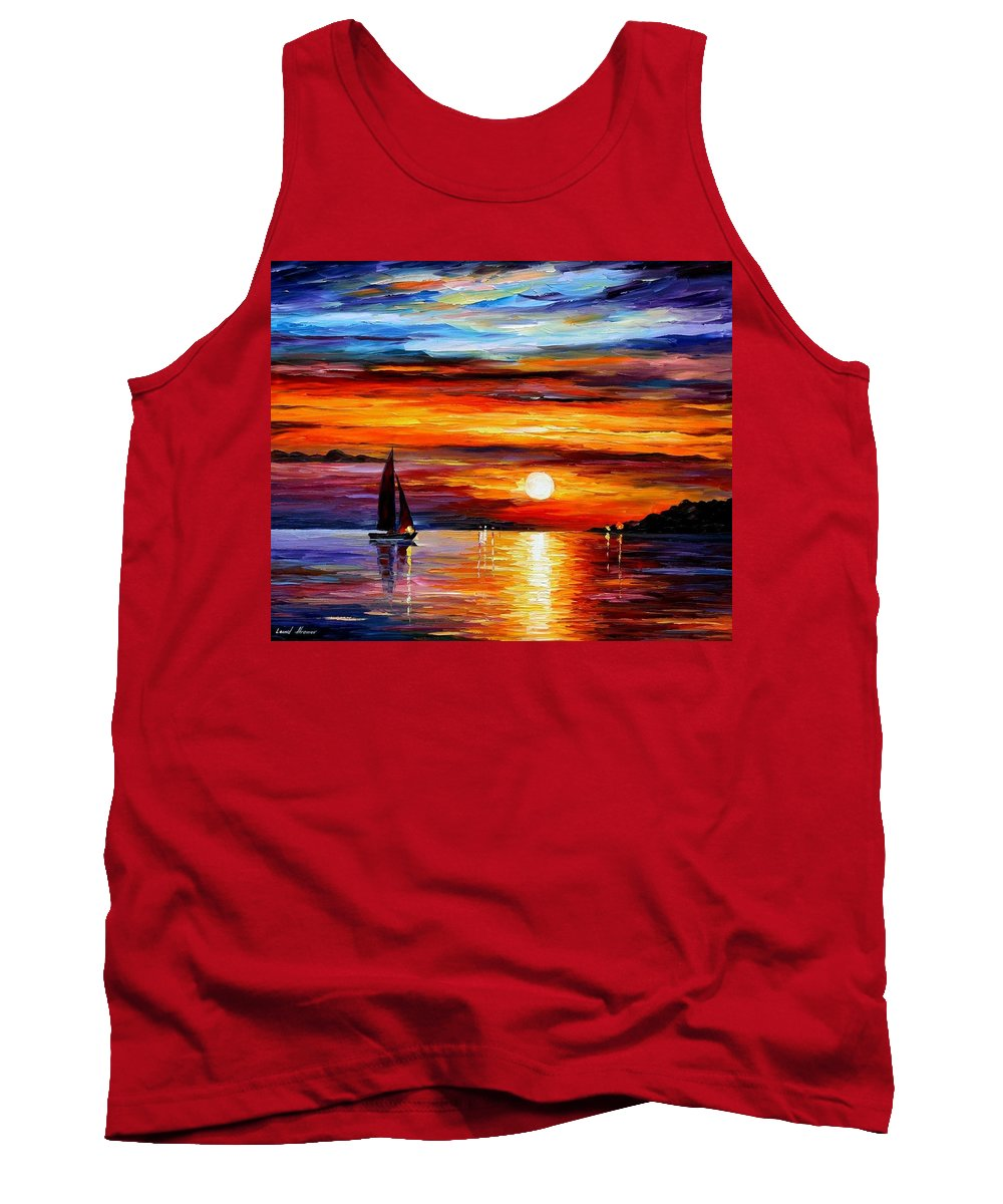 Afremov Tank Top featuring the painting Quiet Sunset by Leonid Afremov