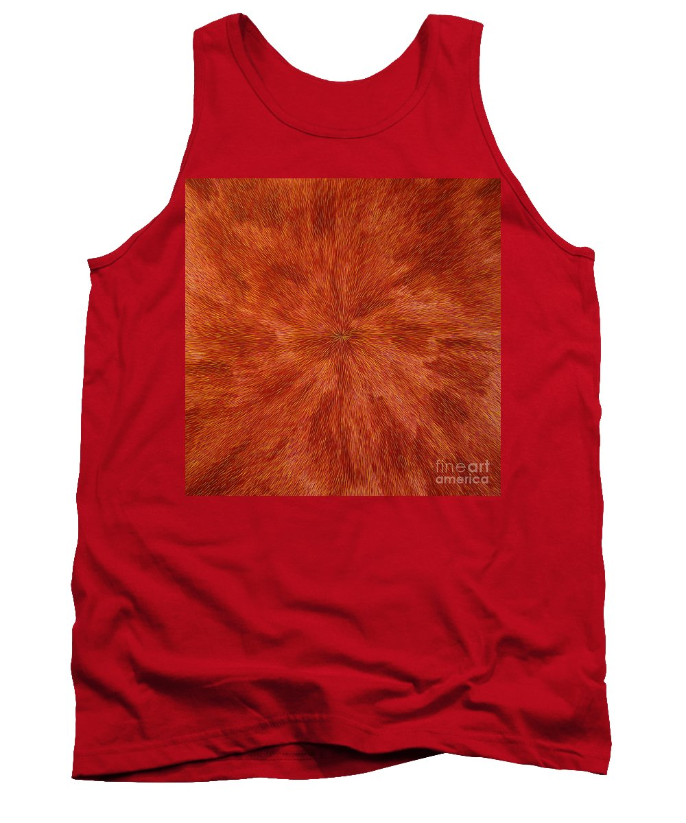 Abstract Tank Top featuring the painting Radiation With Brown Yellow And Voilet by Dean Triolo