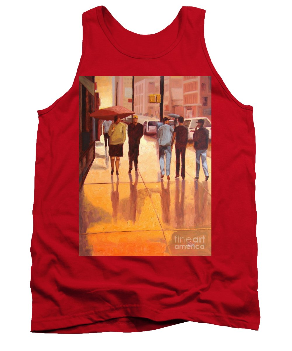 Manhattan Tank Top featuring the painting Rain In Manhattan Number Eighteen by Tate Hamilton