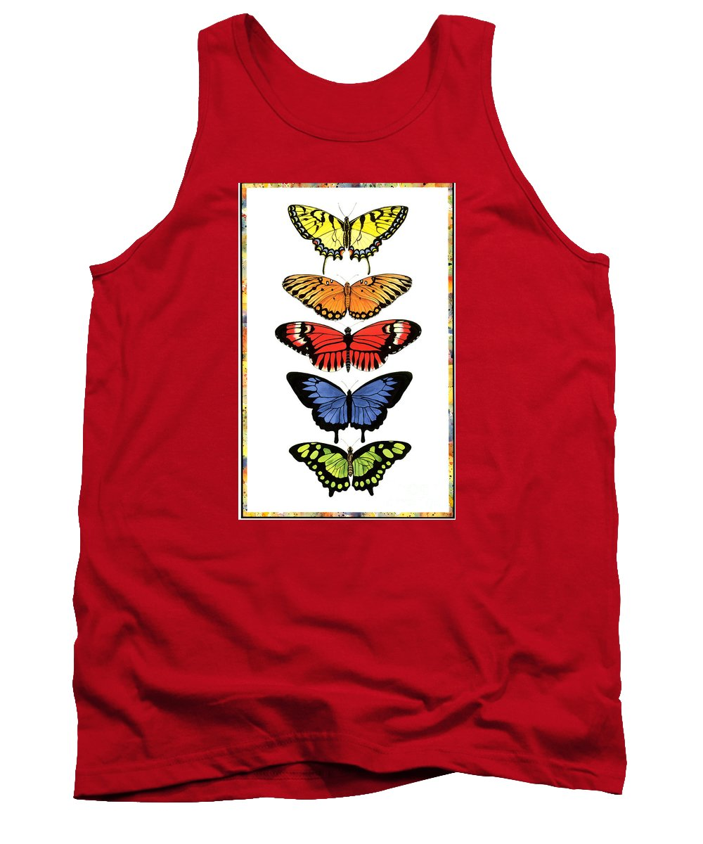 Butterflies Tank Top featuring the painting Rainbow Butterflies by Lucy Arnold