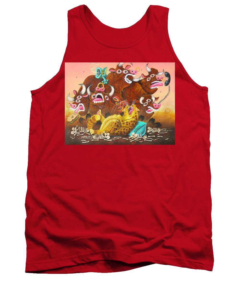 Cat Tank Top featuring the painting Rawhide O.d. by Baron Dixon