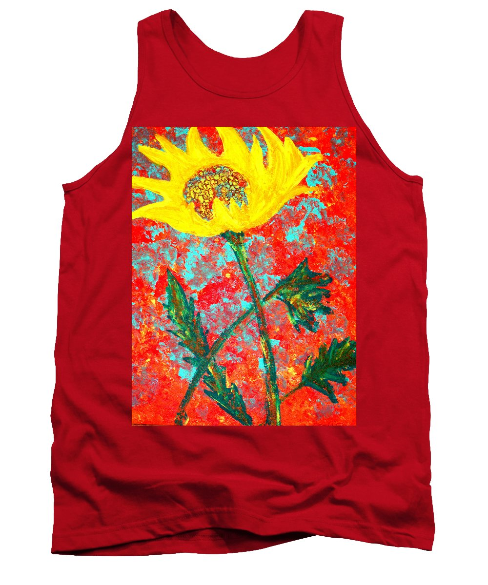Flower Tank Top featuring the painting Reaching For The Sun by Wayne Potrafka